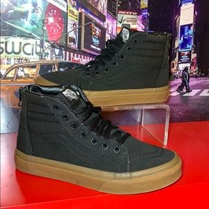 Kids Zip-Up VANS Sneakers Size 3 Black Gum Sole